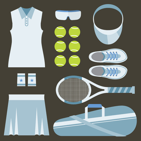 shirt: Top View Set Of White Tennis Womens Gears Vector Illustration