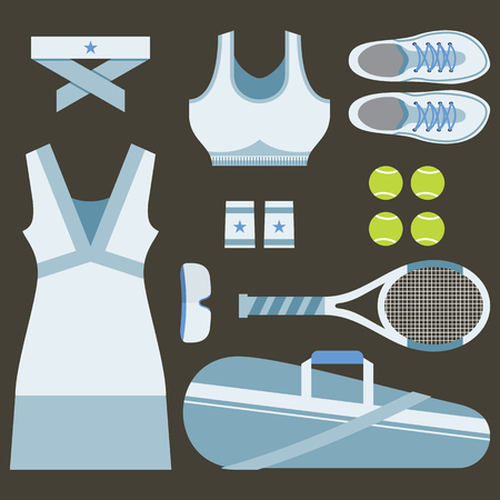 sportswear: Top View Set Of White Tennis Womens Gears Vector Illustration