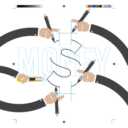 prepress: Hand With Pencils With Print Calibration Elements Illustration