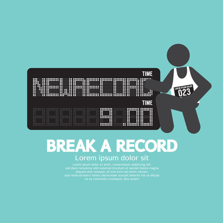 quicker: The Athlete With Break A Record Banner Vector Illustration