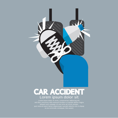 pedal: Water Bottle Cause Car Accident Vector Illustration Illustration