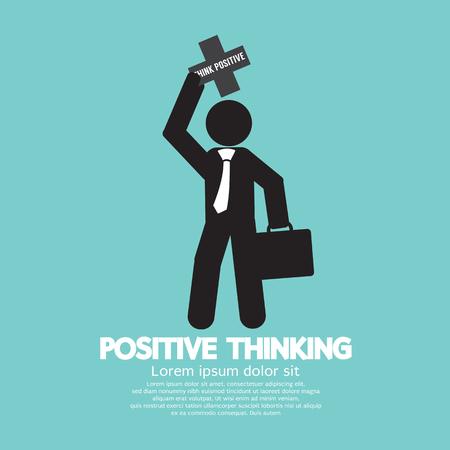 attitudes: Positive Thinking Businessman Vector Illustration