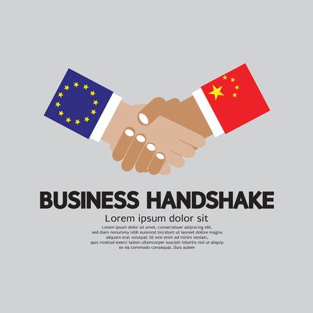 china business: Business Handshake Vector Illustration. European Union And China Illustration