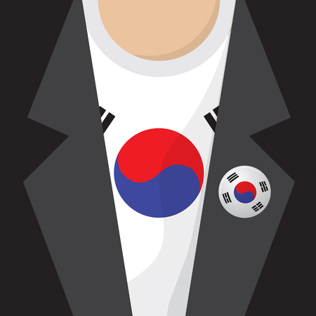 clasp: T-Shirt With South Korea Flag Vector Illustration