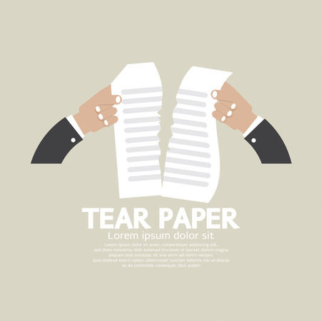 tearing: Hands Tears Paper Vector Illustration