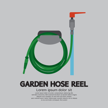 gardening hose: Garden Hose Reel Vector Illustration