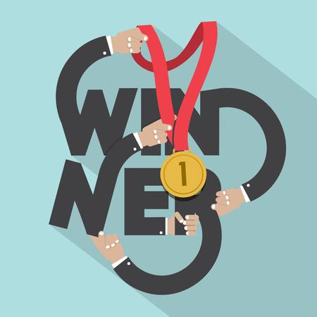 winners: Golden Medal In Hands With Winner Typography Design Vector Illustration