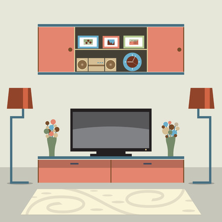 home entertainment: Living Room Decorated Vector Illustration