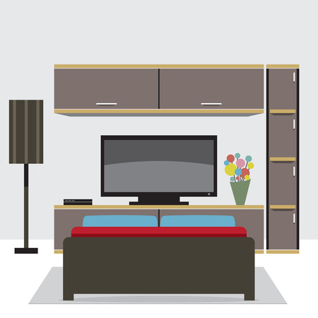 living: Living Room Decorated Vector Illustration