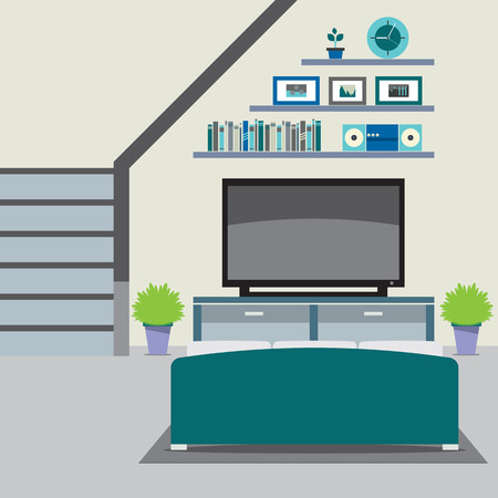 room: Living Room Decorated Vector Illustration