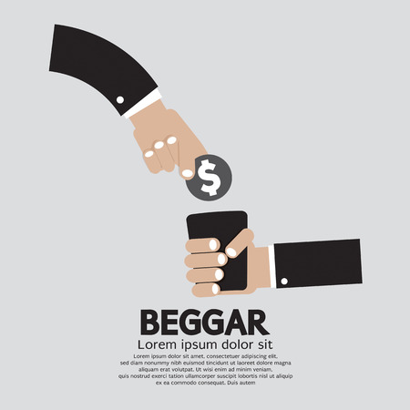 begging: Coin Donated To The Beggar Vector Illustration