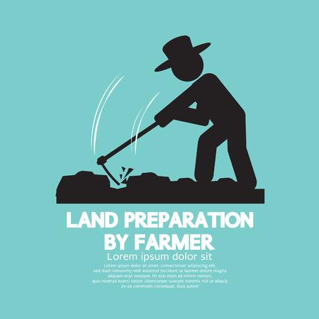 Land Preparation By Farmer Symbol Vector Illustration
