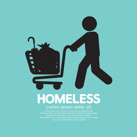 begging: Homeless With Possessions Cart Symbol Vector Illustration Illustration