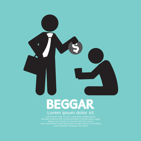 begging: Businessman Donates Coin To The Beggar Vector Illustration