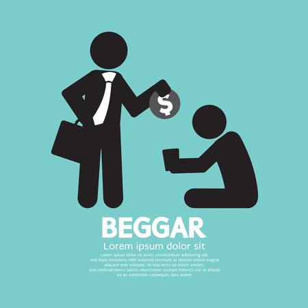 Businessman Donates Coin To The Beggar Vector Illustration