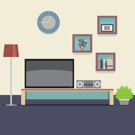 space television: Living Room Decorated Vector Illustration