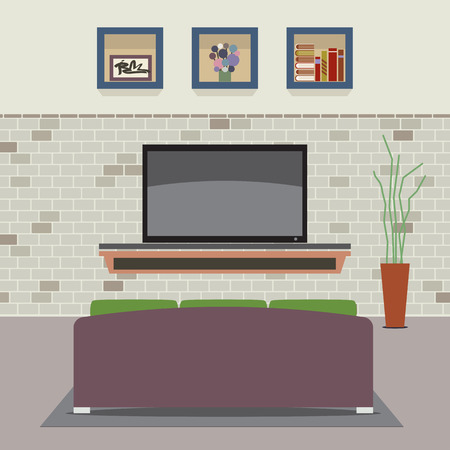 living room design: Living Room Decorated Vector Illustration