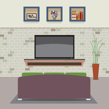 Living Room is ingericht Vector Illustration