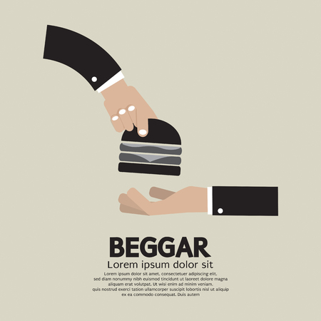 begging: Food Donated To The Beggar Vector Illustration Illustration