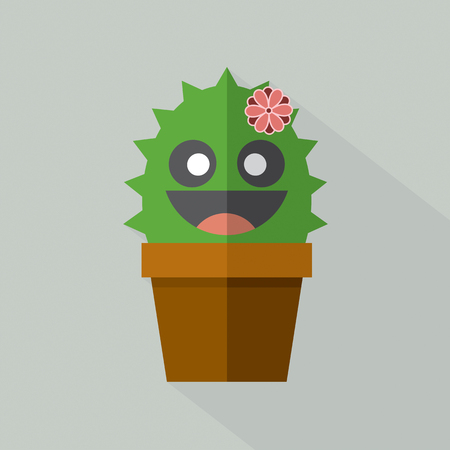 dry flowers: Cute Cactus Pot Vector Illustration Illustration
