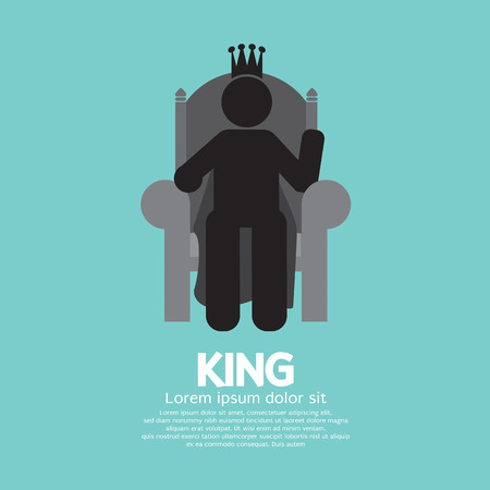 throne: The King With His Throne Vector Illustration