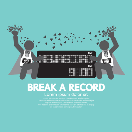 personal record: The Athletes With Break A Record Banner Vector Illustration
