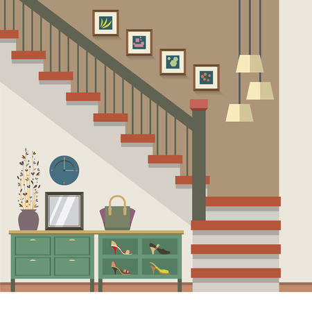 stairs interior: Hallway Decoration Vector Illustration Illustration