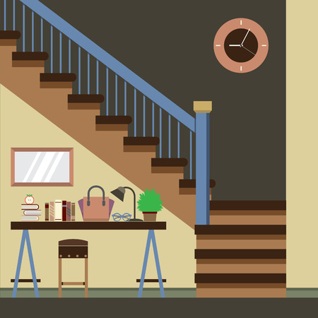 staircase: Hallway Decoration Vector Illustration Illustration