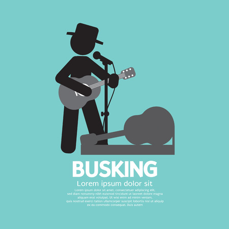 lonely person: Busking, Street Performance Symbol Vector Illustration Illustration