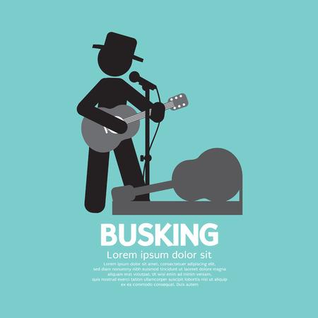 Busking, Street Performance Symbol Vector Illustration Illustration