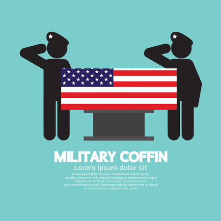 funeral: Military Coffin Funeral Vector Illustration
