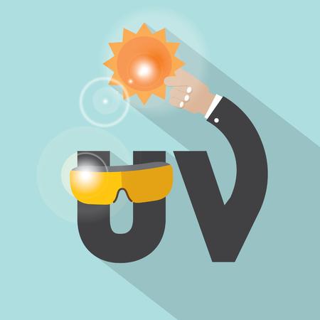 rayos uv: UV Typography Design Vector Illustration