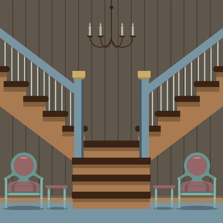 hallway: Hallway Decoration Vector Illustration Illustration