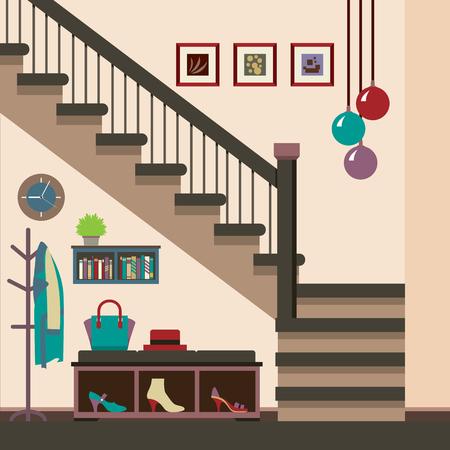 coat rack: Hallway Decoration Vector Illustration Illustration
