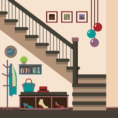 Hallway Decoration Vector Illustration Illustration
