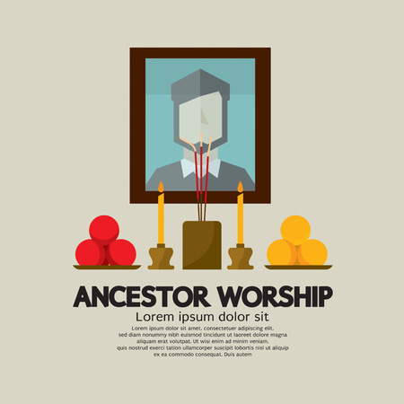 worship: Ancestor Worship Vector Illustration