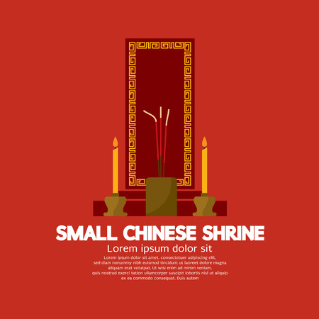 venerate: Small Chinese Shrine Vector Illustration