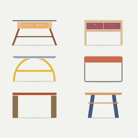 console table: Set Of Modern Console Table Vector Illustration