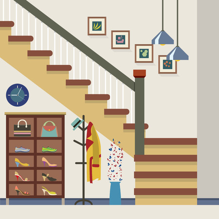 storage: Hallway Decoration Vector Illustration Illustration