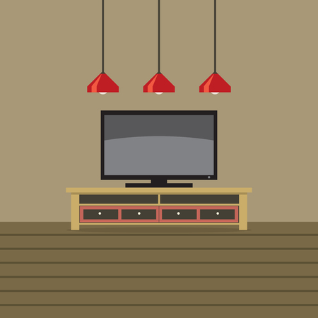 shelf: TV Shelf With Ceiling Lights Vector Illustration Illustration