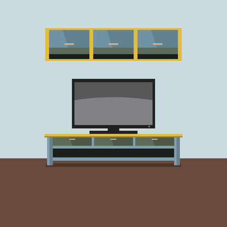 shelf: TV Shelf With Wall Cabinet Vector Illustration