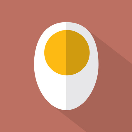 boiled: Boiled Egg Flat Design Icon Vector Illustration Illustration