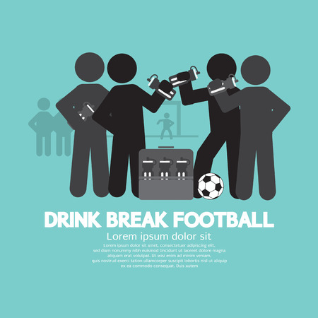 thirsty: Drink Break Football Symbol Vector Illustration