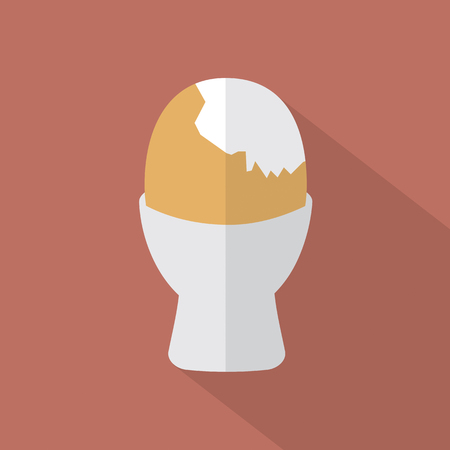 boiled: Boiled Egg Cup Icon Vector Illustration