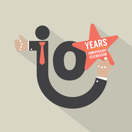 10 years: 10 Years Anniversary Typography Design Vector Illustration