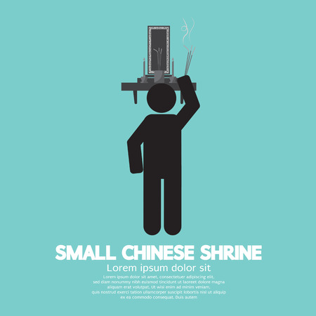 shrine: Black Symbol Small Chinese Shrine Vector Illustration