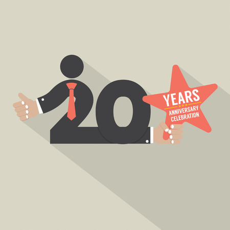 20: 20 Years Anniversary Typography Design Vector Illustration