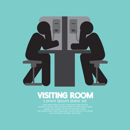 strafgefangene: Besucherraum der Besucher und Gefangene Vector Illustration Illustration