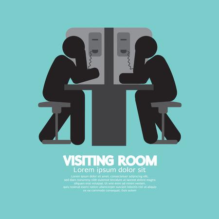 Visiting Room of visitor and prisoner Vector Illustration Illustration