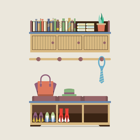 home accessories: Cabinet Seat With Wall Cabinet Vector Illustration